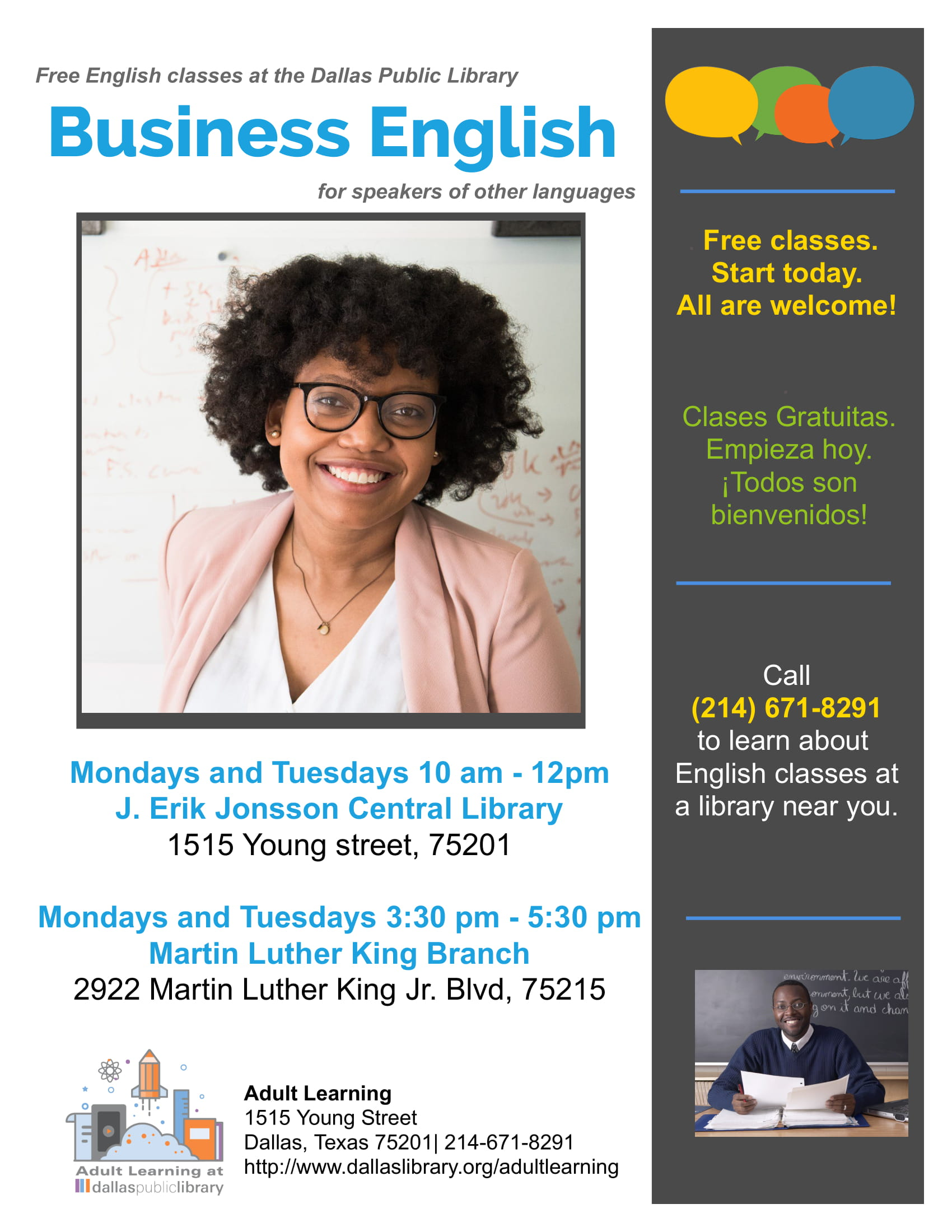 Free English Classes at MLK Library