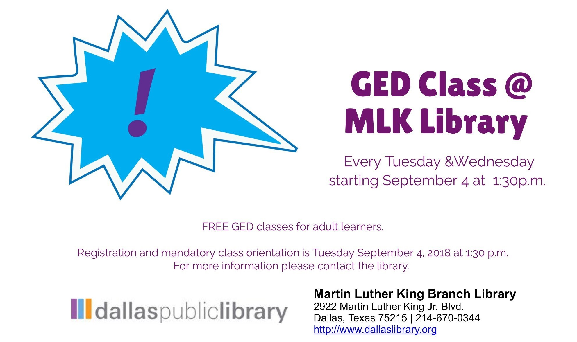 Free GED Classes at the MLK Library
