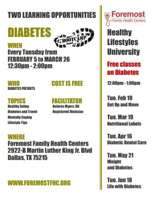 Diabetes Boot Camp @ Foremost Family Health Center