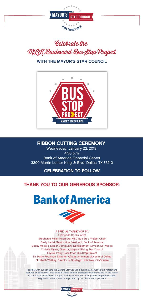 Mayor's Star Council Bus Stop Project- Ribbon Cutting Ceremony @ Bank of America
