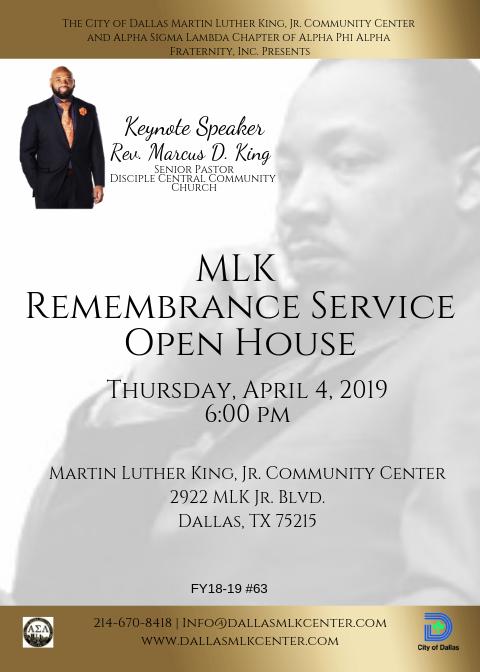 MLK Remembrance Service & Open House @ Martin Luther King, Jr. Community Center