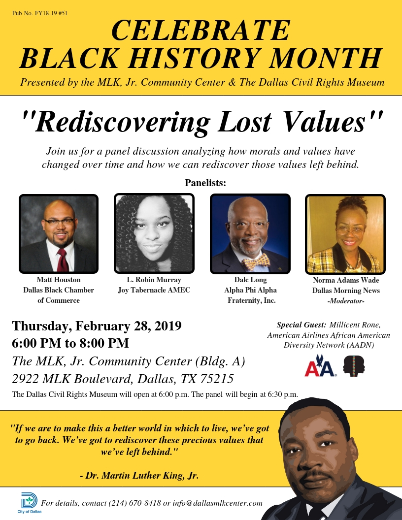 Black History Month Panel Discussion: Rediscovering Lost Values @ Martin Luther King, Jr. Community Center