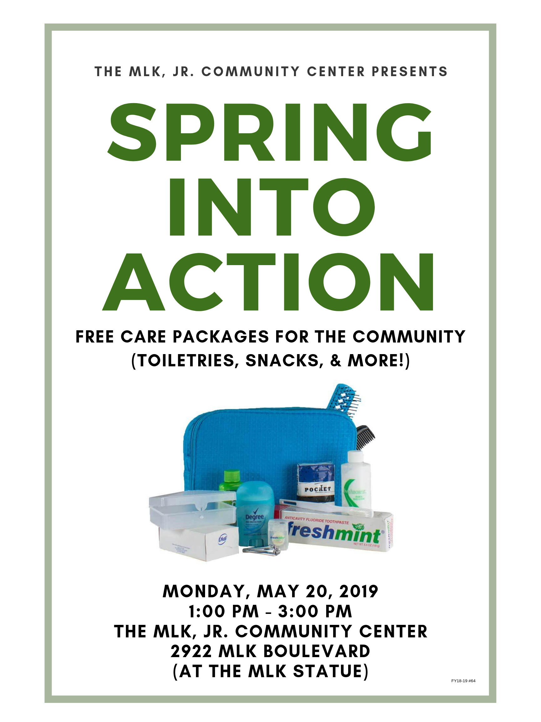 Spring Into Action (Free Toiletries Giveaway) @ MLK, Jr. Community Center