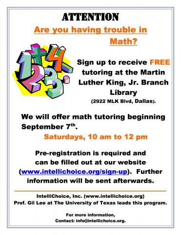 Free Math Tutoring @ MLK Branch Library