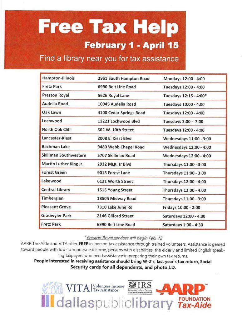 Free Tax Help (February 1- April 15) @ Ma
