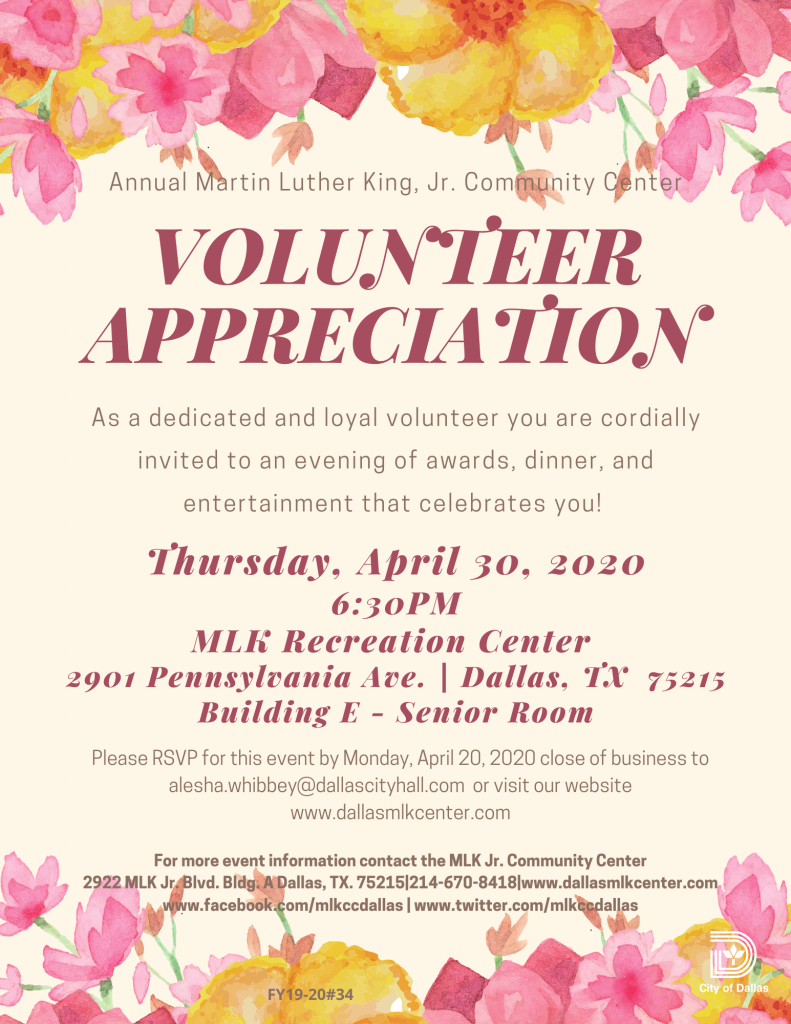 Volunteer Appreciation @ MLK Recreation Center (Building E-Senior Room)